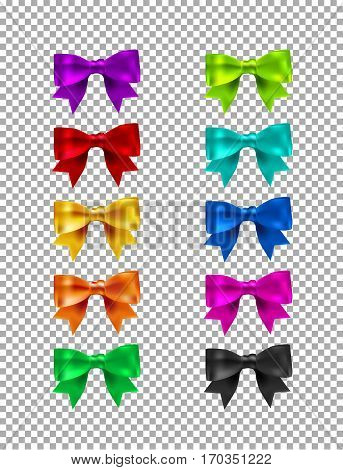 Collection Of Silk Realistic Colored Bows With Ribbons. Set Of Beautiful Gift Bows. Realistic Bow Co