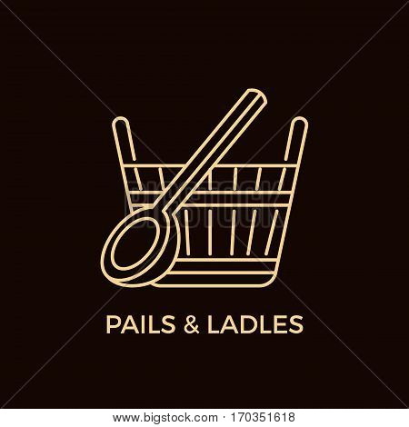 Unique Line Style Vector Logotype Template with Pail and Ladle. Editable Stroke Vector Icon. Clean and minimalist symbol perfect for your business. Sauna relaxation concept.