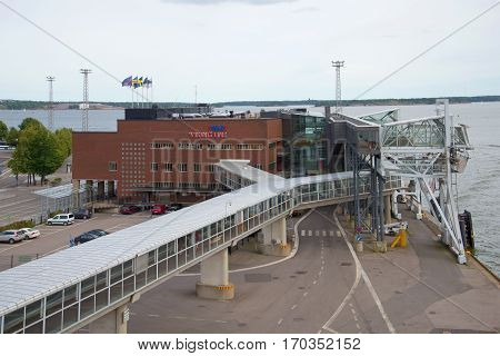 HELSINKI, FINLAND - AUGUST 28, 2016: View of the passenger terminal shipping company