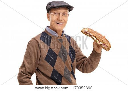 Joyful mature man with a sandwich isolated on white background