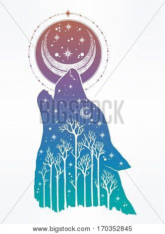Double exposure, deocrative wolf howling at moon with forest landscape, night sky. Isolated vintage vector illustration. Solitude, freedom. Tattoo, adventure, wildlife symbol. The great outdoors.