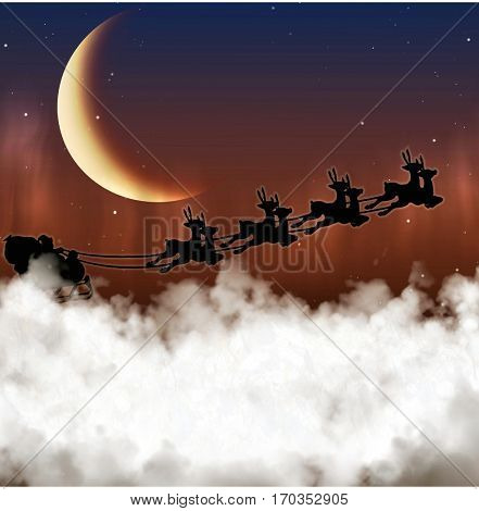 Santa Claus is flying on a background of the moon at night Christmas reindeer, delivering gifts.