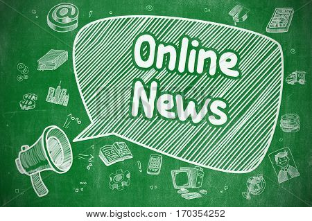Online News on Speech Bubble. Doodle Illustration of Yelling Megaphone. Advertising Concept. Shouting Loudspeaker with Text Online News on Speech Bubble. Doodle Illustration. Business Concept.