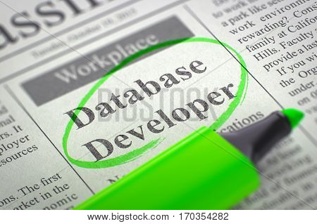 Database Developer - Jobs Section Vacancy in Newspaper, Circled with a Green Highlighter. Blurred Image with Selective focus. Job Search Concept. 3D Illustration.