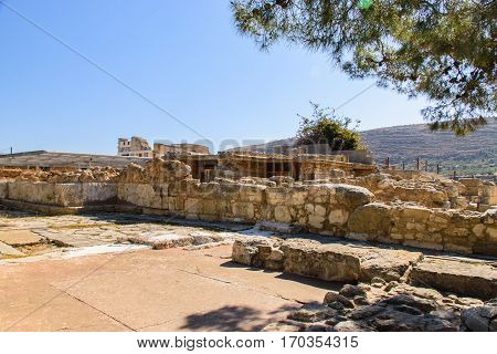 Ruins of ancient city Crete. Attractions of a beautiful city