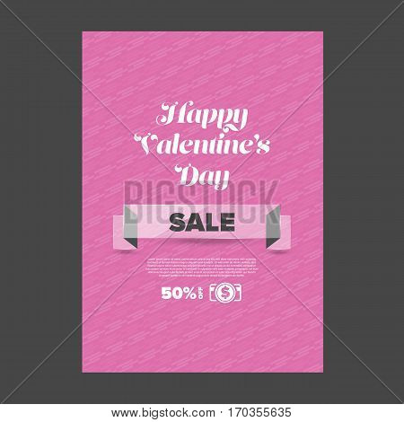 Valentine day sale banner with glass ribbon and pink background