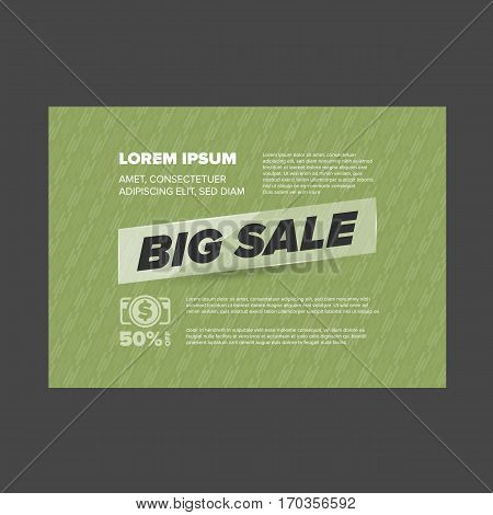 Big Sale banner with glass ribbon and green background