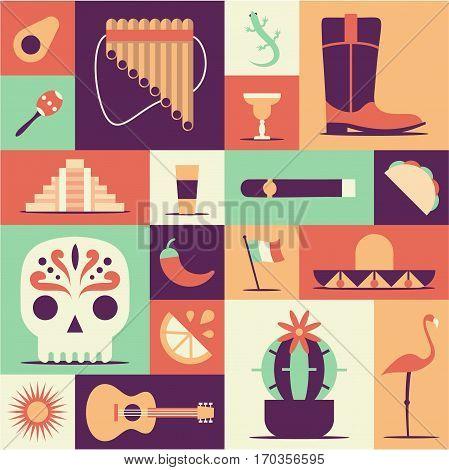 Sun, Moai pyramid, tequila, Mexico map, cactus, guitar sombrero chili maracas flag skull Vector Mexican poster