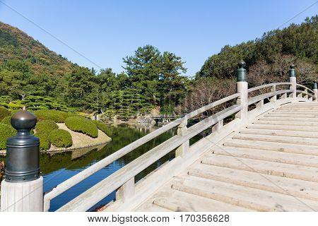 Ritsurin Garden and wooden bridge