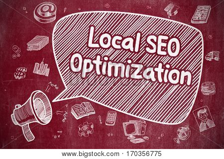 Yelling Megaphone with Wording Local SEO Optimization on Speech Bubble. Hand Drawn Illustration. Business Concept.