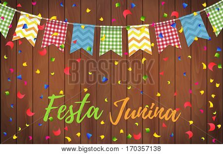 Festa Junina Party Greeting Design. Festa Junina Brazil Festival. Folklore Holiday. Festival Fire. V