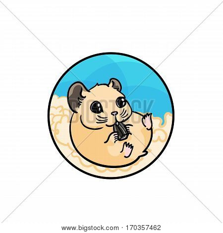 Syrian hamster eating sunflower seed. Animal art, cute cartoon style, vector hand drawn illustration. Suitable for pet shop or zoo ads, label design or animal food package element