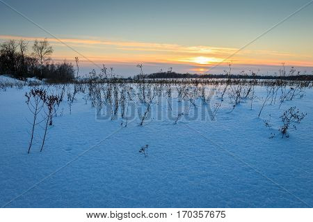 Twilight At Field Covered With Snow In Winter.