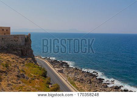 Panoramic View Of Fortezza Castle And Mediterranean Sea (sea Of Crete).