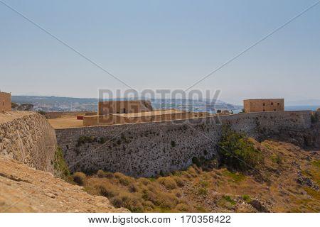 Rethymno, Greece - July  30, 2016: The Fortezza Of Rethymno.