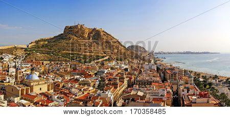 Alicante city and Castillo de Santa Barbara in sunny day, Spain