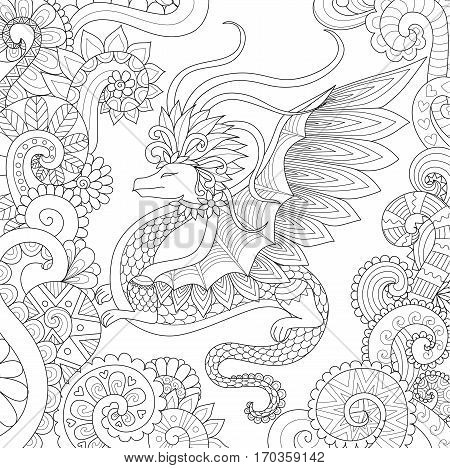 Abstract pretty dragon flying in floral forest for adult coloring book page