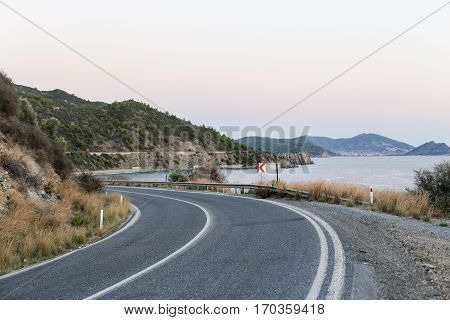 Highway close to the beautiful Mediterranean seaside coast Aegean