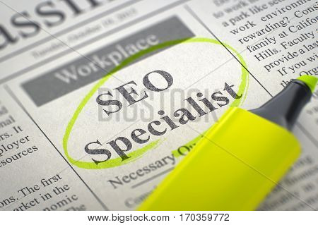 SEO Specialist - Small Ads of Job Search in Newspaper, Circled with a Yellow Highlighter. Blurred Image with Selective focus. Hiring Concept. 3D Render.
