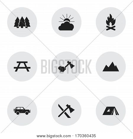 Set Of 9 Editable Travel Icons. Includes Symbols Such As Desk, Fever, Sunrise And More. Can Be Used For Web, Mobile, UI And Infographic Design.