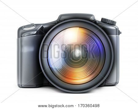 photocamera view front on white background. 3d illustration (isolated)