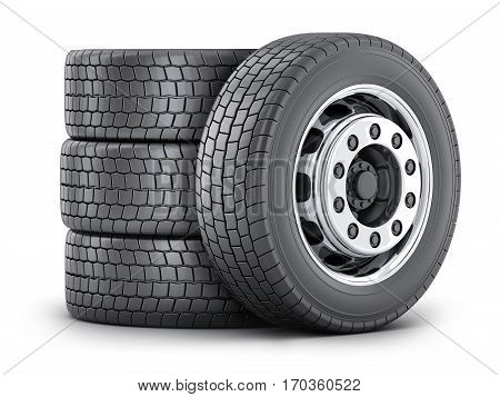 Four truck wheel on a white background. 3d illustration (isolated)