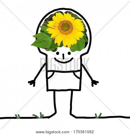 Cartoon Big Brain Man - sunflower and smile