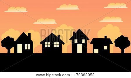 House vector illustration icon with colored background