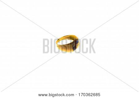 Golden signet ring with gems isolated on white