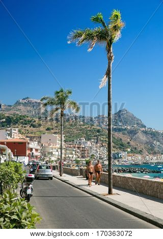 Giardini Naxos,small village, Sicily, Italy July 28, 2016