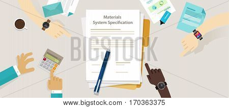 material system specifications project procurement user requirement document vector