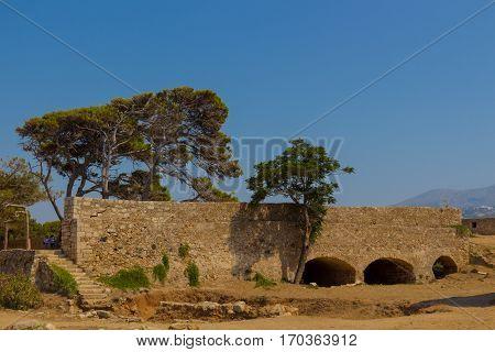 Rethymno, Greece - July  30, 2016: Western Gate Of Fortezza Castle.