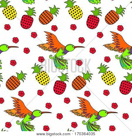 Hand drawn vector illustration of a flying hummingbird. Seamless pattern with bird and flower and pineapples. Funny seamless pattern. Cartoon vector flat illustration.