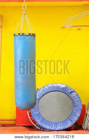 Fitness hall with punching bags