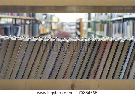 Books on bookshelves in library