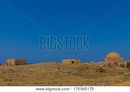 Rethymno, Greece - July  30, 2016:  Inside Fortezza Of Rethymno.