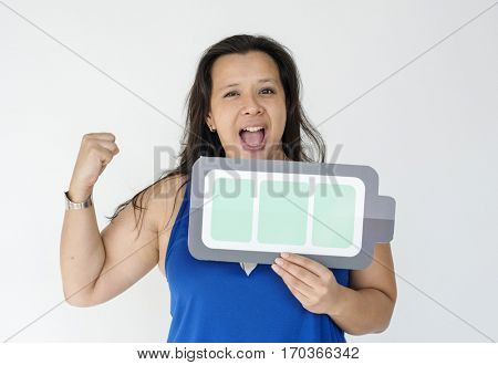 Woman Smiling Happiness Energetic Fully Charged Battery Symbol