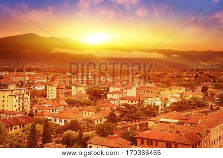 Pisa at sunset. View from the leaning tower. Tuscany. Italy.
