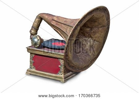 An antique gramophone and a recording of music. Presented on a white background.