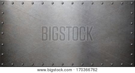 old steel metal plate with rivets