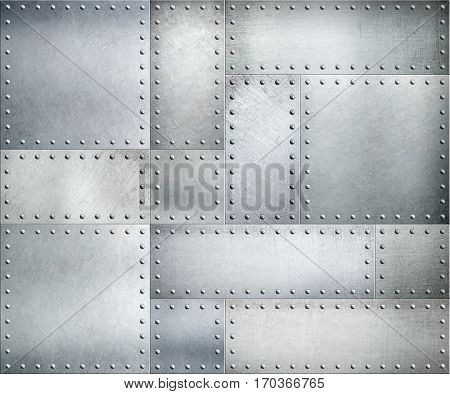 Metal plates with rivets background or texture