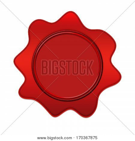 Red wax seal or signet isolated on white