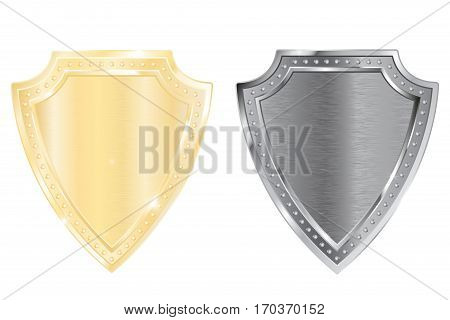 Shield. Golden and silver. Vector illustration isolated on white background