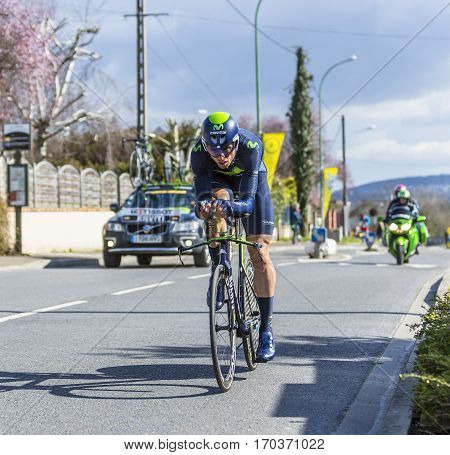 Conflans-Sainte-HonorineFrance-March 62016: The Spanish cyclist Imanol Erviti Ollo of Movistar Team riding during the prologue stage of Paris-Nice 2016.
