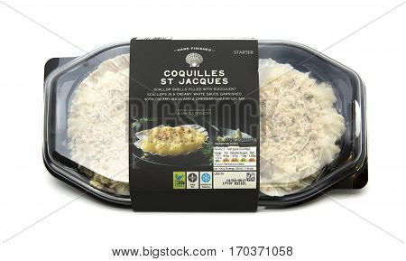 SWINDON UK - FEBRUARY 11 2017: Packet of Marks And Spencers Coquilles St Jacques on a white background