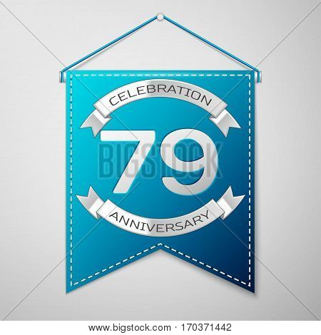 Blue pennant with inscription Seventy nine Years Anniversary Celebration Design over a grey background. Silver ribbon. Colorful template elements for your birthday party. Vector illustration