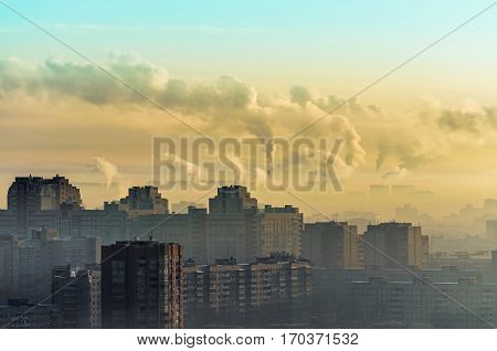 Megapolis in the smoke pipe on the environment dawn