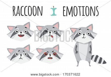 Cute funny raccoon set various emotions. Raccoon in cartoon style.