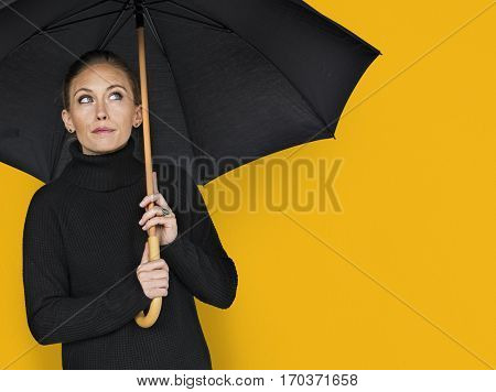 Woman Curious Awareness Umbrella Portrait Concept