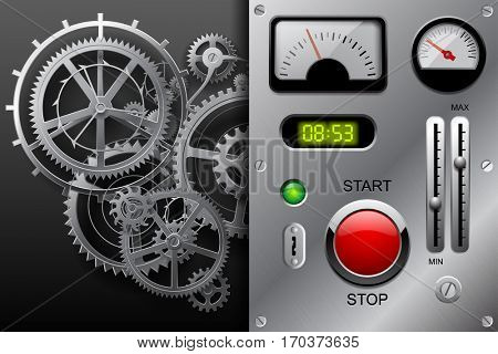 Gear wheels in black and white and metallic dashboard panel with clockwork set of meters, buttons and other machinery parts on metallic background